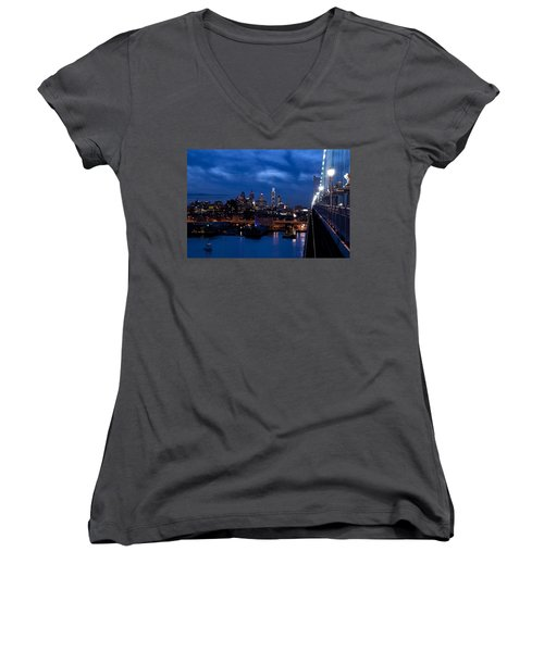 Philadelphia Twilight Women's V-Neck T-Shirt (Junior Cut) by Jennifer Ancker