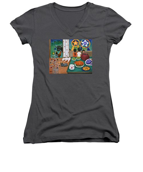 Philippine Christmas 2 Women's V-Neck T-Shirt (Junior Cut) by Victoria Lakes