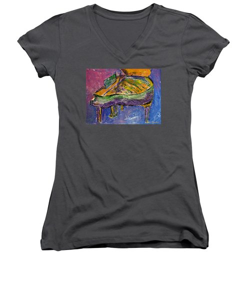 Piano Purple Women's V-Neck (Athletic Fit)
