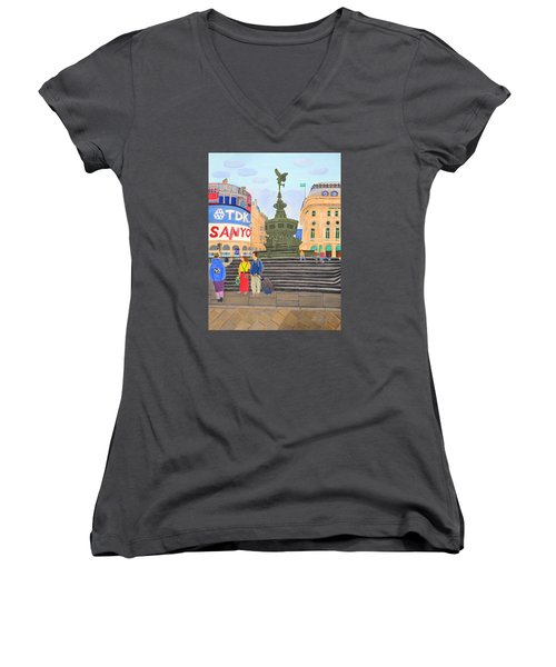 Women's V-Neck T-Shirt (Junior Cut) featuring the painting London- Piccadilly Circus by Magdalena Frohnsdorff