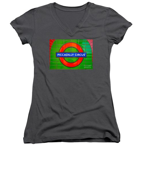 Women's V-Neck T-Shirt (Junior Cut) featuring the photograph Piccadilly Circus Tube Station by Luciano Mortula