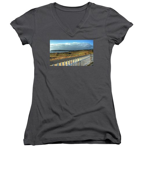 Women's V-Neck T-Shirt (Junior Cut) featuring the photograph Picket Fence - Chambers Bay Golf Course by Chris Anderson