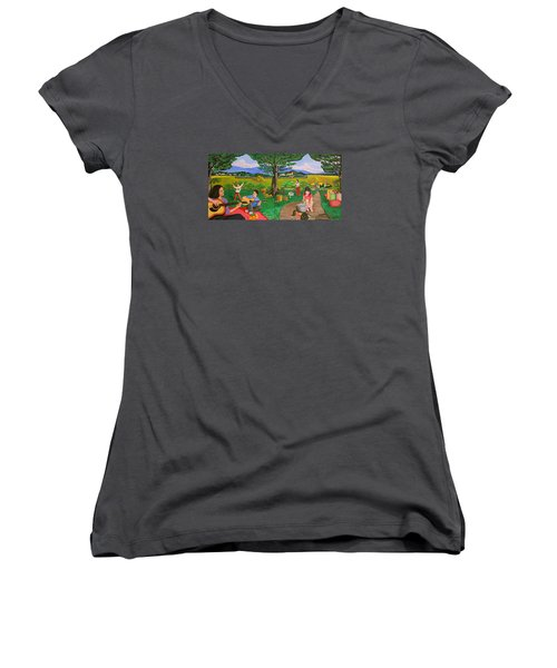Women's V-Neck T-Shirt (Junior Cut) featuring the painting Picnic With The Farmers And Playing Melodies Under The Shade Of Trees by Lorna Maza