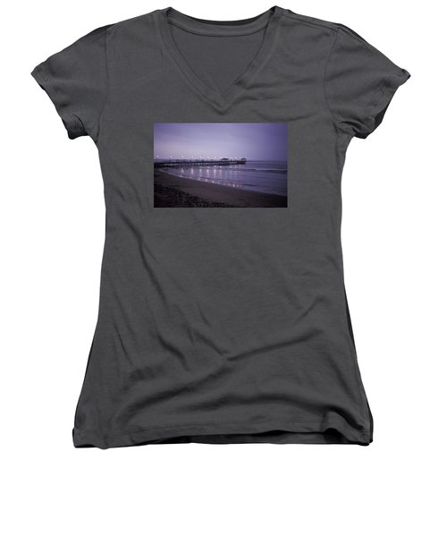 Women's V-Neck T-Shirt (Junior Cut) featuring the photograph Pier At Dusk by Lana Enderle