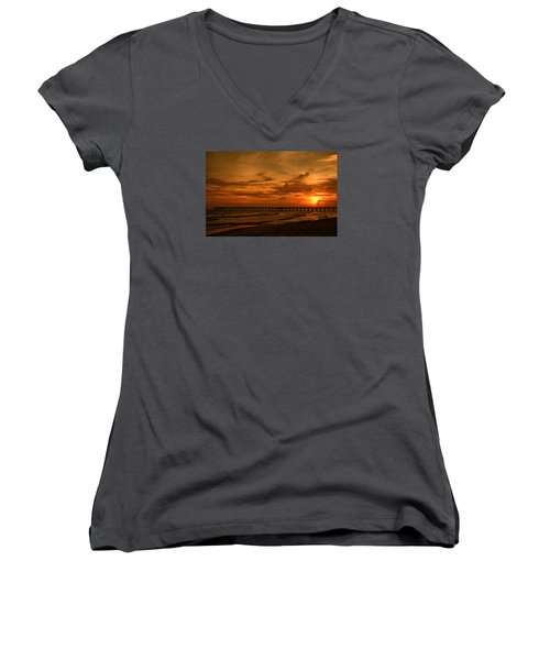Pier At Sunset Women's V-Neck T-Shirt (Junior Cut) by Sandy Keeton