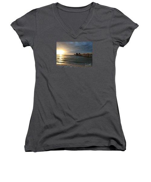 Pier Sunset Naples Women's V-Neck T-Shirt (Junior Cut) by Christiane Schulze Art And Photography