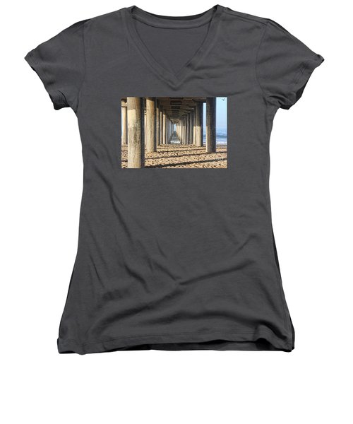 Women's V-Neck T-Shirt (Junior Cut) featuring the photograph Pier by Tammy Espino