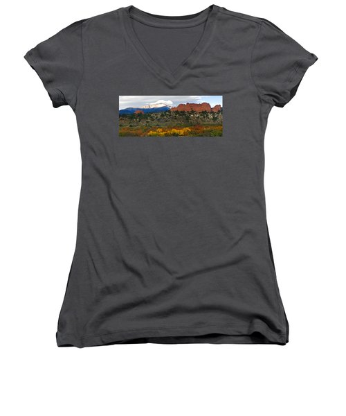 Women's V-Neck T-Shirt (Junior Cut) featuring the photograph Pikes Peak Fall Pano by Ronda Kimbrow