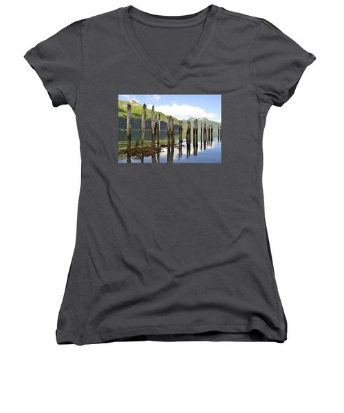 Women's V-Neck T-Shirt (Junior Cut) featuring the photograph Pilings by Cathy Mahnke