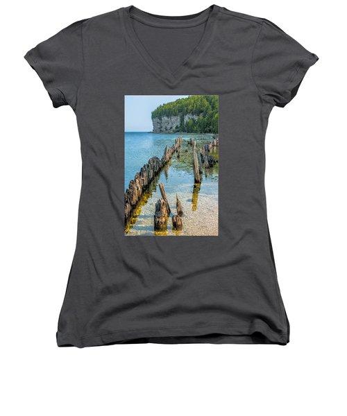 Pilings On Lake Michigan Women's V-Neck T-Shirt