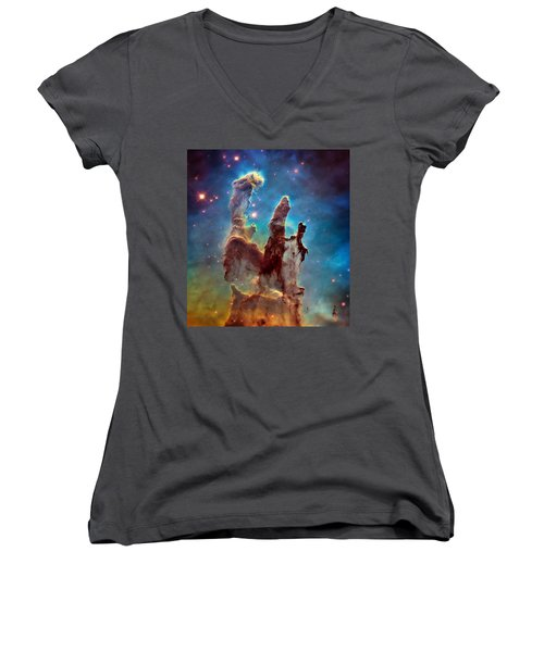 Pillars Of Creation In High Definition - Eagle Nebula Women's V-Neck T-Shirt