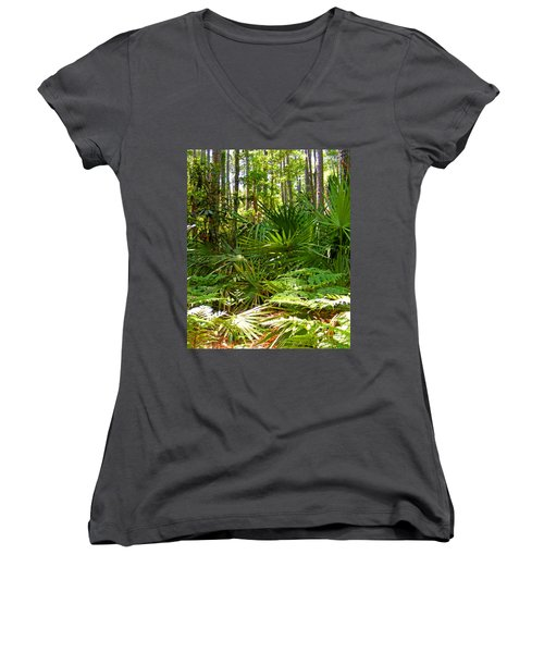 Pine And Palmetto Woods Filtered Women's V-Neck T-Shirt