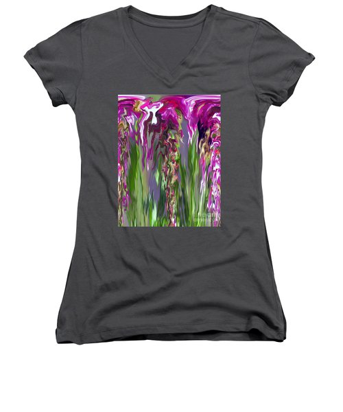 Pink And Green Floral Women's V-Neck T-Shirt