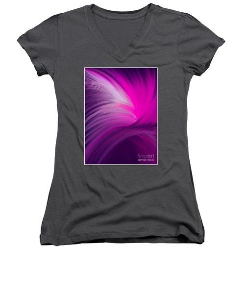 Pink And Purple Swirls Women's V-Neck