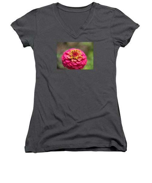 Women's V-Neck T-Shirt (Junior Cut) featuring the photograph Pink Floral  by Eunice Miller