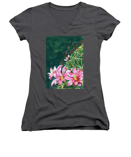 Women's V-Neck T-Shirt (Junior Cut) featuring the painting Pink Beauty by Eric Samuelson