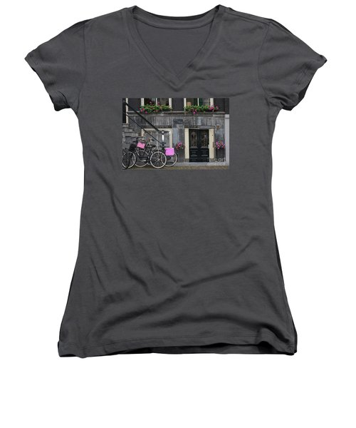 Pink Bikes Of Amsterdam Women's V-Neck T-Shirt (Junior Cut) by Mary-Lee Sanders