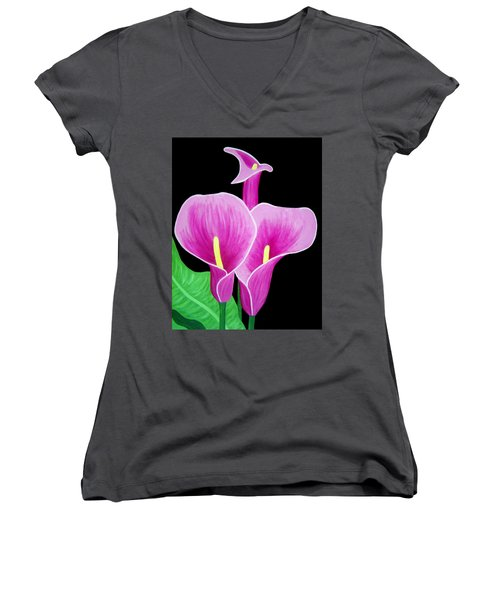 Pink Calla Lillies 2 Women's V-Neck (Athletic Fit)