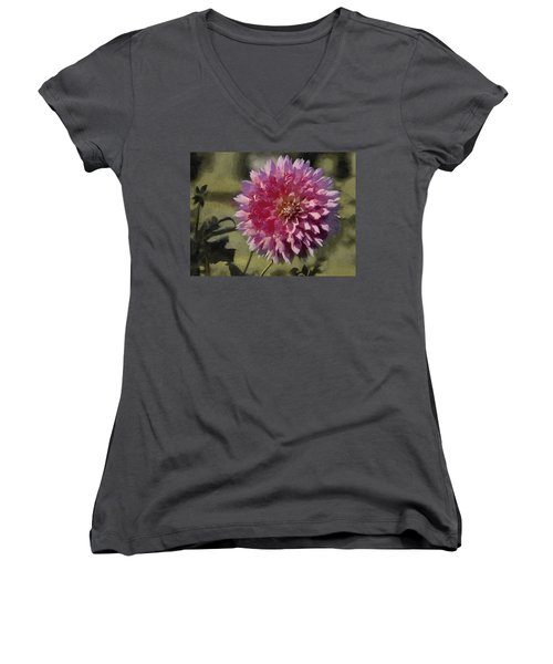 Pink Dahlia Women's V-Neck T-Shirt (Junior Cut) by Jeff Kolker