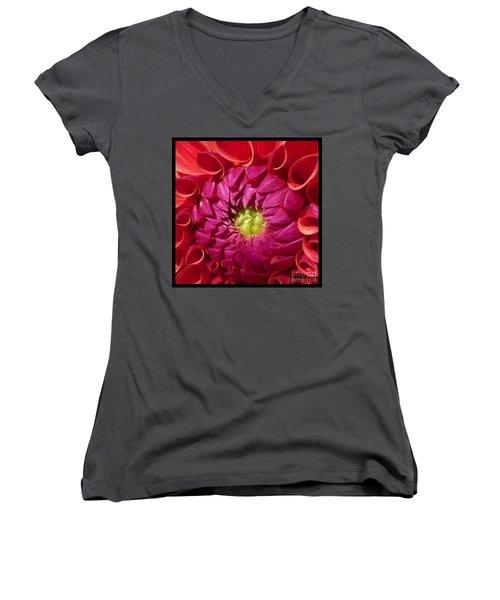 Pink Dahlia Variation Women's V-Neck T-Shirt (Junior Cut) by Susan Garren