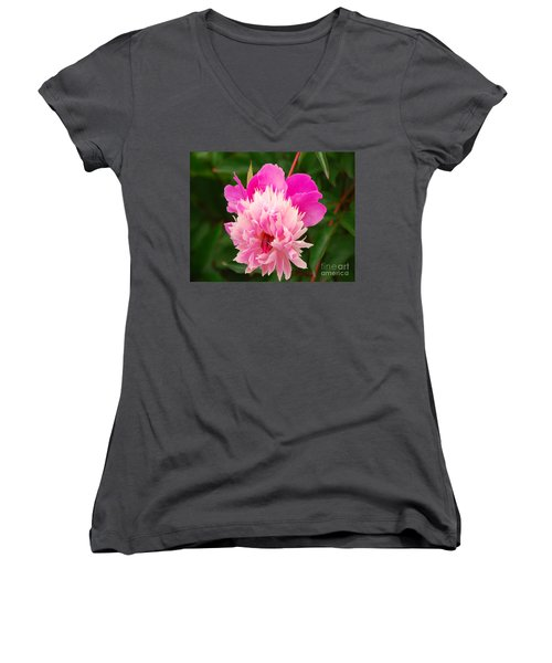 Women's V-Neck T-Shirt (Junior Cut) featuring the photograph Pink Peony by Mary Carol Story
