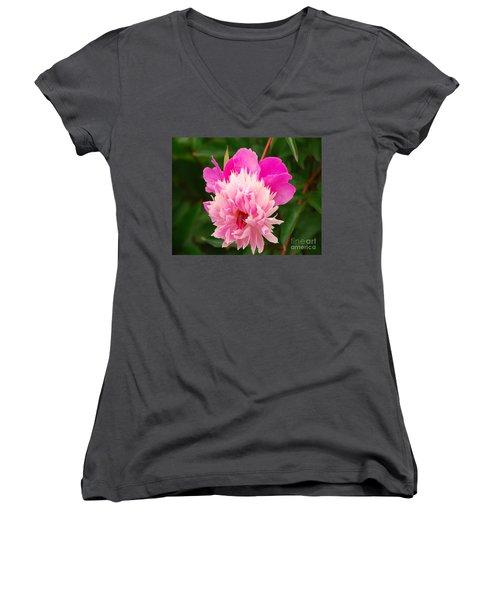 Pink Peony Women's V-Neck T-Shirt (Junior Cut) by Mary Carol Story