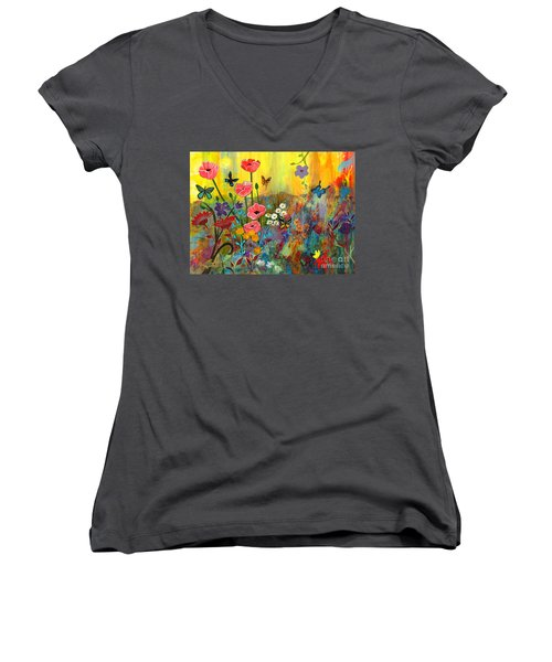 Women's V-Neck T-Shirt (Junior Cut) featuring the painting Pink Poppies In Paradise by Robin Maria Pedrero