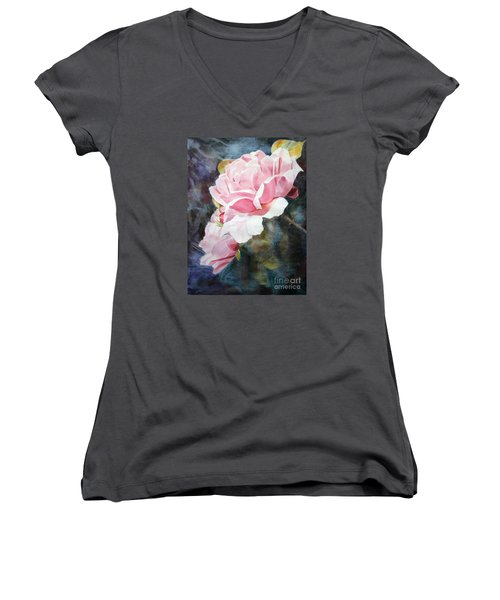 Pink Rose Caroline Women's V-Neck T-Shirt (Junior Cut) by Greta Corens