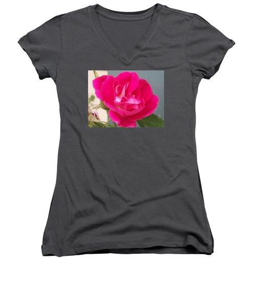 Women's V-Neck T-Shirt (Junior Cut) featuring the photograph Pink Rose by Jewel Hengen