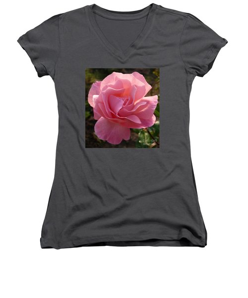 Women's V-Neck T-Shirt (Junior Cut) featuring the photograph Pink Rose by Phil Banks