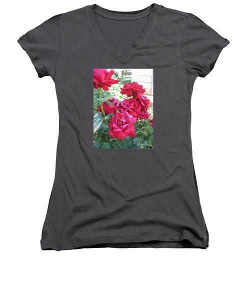 Women's V-Neck T-Shirt (Junior Cut) featuring the photograph Pink Roses by Chrisann Ellis