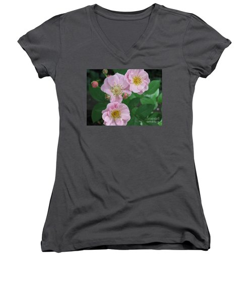 Women's V-Neck T-Shirt (Junior Cut) featuring the photograph Pink Roses by HEVi FineArt