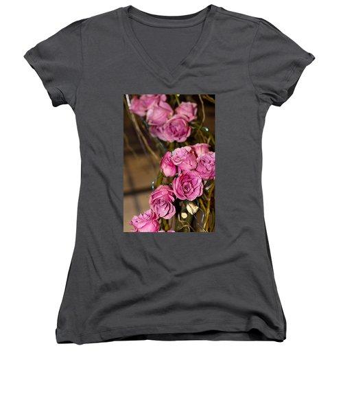 Pink Roses Women's V-Neck T-Shirt (Junior Cut) by Patrice Zinck