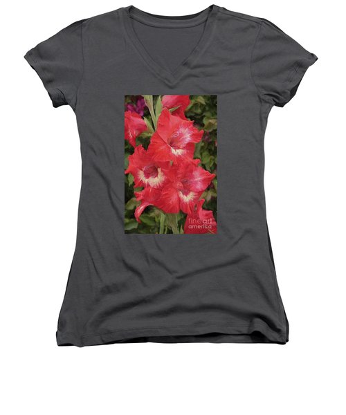 Pink Trumpet Painting In Digital Oil Women's V-Neck (Athletic Fit)