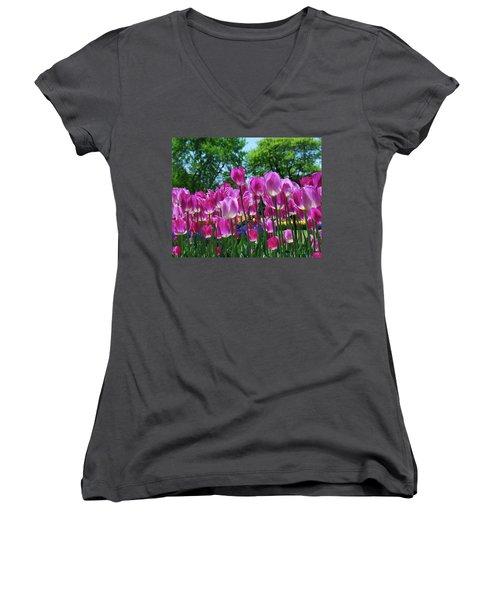 Women's V-Neck T-Shirt (Junior Cut) featuring the photograph Pink Tulips by Allen Beatty