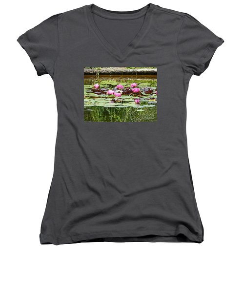 Pink Water Lilies Women's V-Neck (Athletic Fit)
