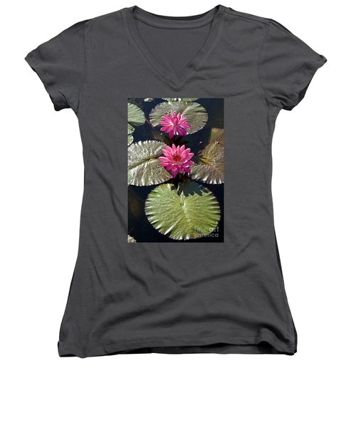 Women's V-Neck featuring the photograph Pink Water Lily IIi by Heiko Koehrer-Wagner