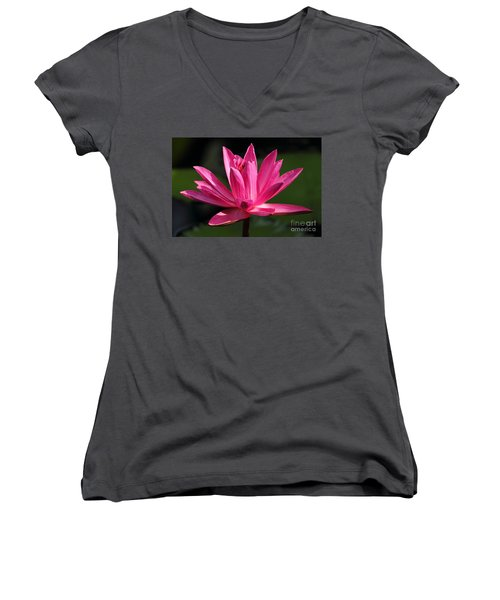 Pink Water Lily Women's V-Neck T-Shirt