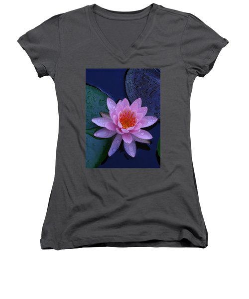 Women's V-Neck T-Shirt (Junior Cut) featuring the photograph Pink Waterlily by Raymond Salani III