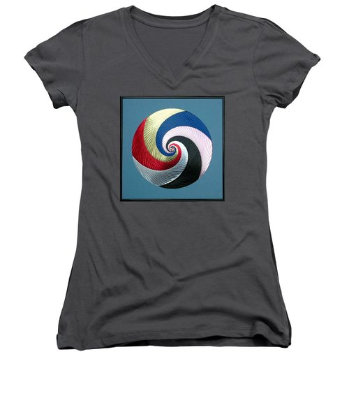 Women's V-Neck T-Shirt (Junior Cut) featuring the mixed media Pinwheel by Ron Davidson
