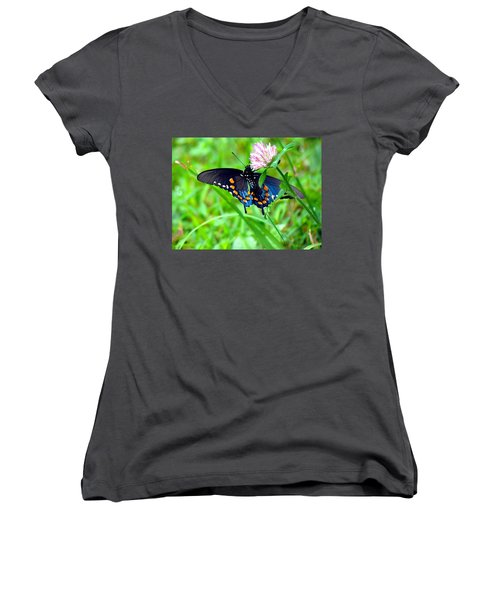 Pipevine Swallowtail Hanging On Women's V-Neck