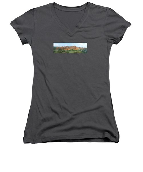 Pitigliano Panorama Women's V-Neck T-Shirt (Junior Cut) by Alan Socolik