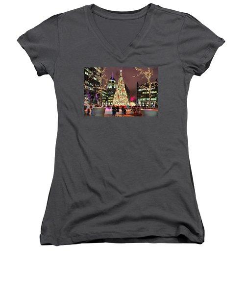 Pittsburgh Holiday Season 2 Women's V-Neck T-Shirt (Junior Cut) by Emmanuel Panagiotakis