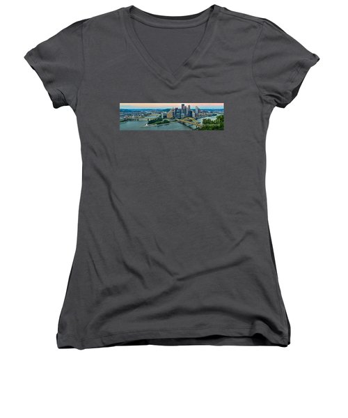 Pittsburgh Panorama At Dusk Women's V-Neck (Athletic Fit)