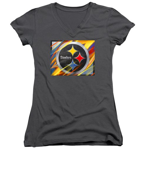 Pittsburgh Steelers Football Women's V-Neck T-Shirt (Junior Cut) by Tony Rubino
