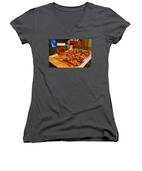 Pizza And Beer Women's V-Neck T-Shirt (Junior Cut) by Kay Novy