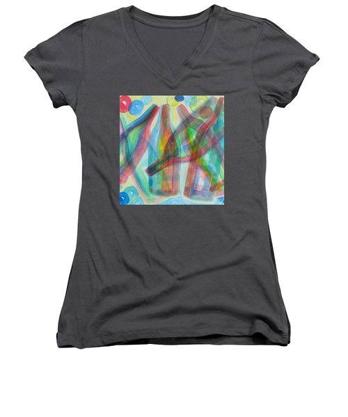 Women's V-Neck T-Shirt (Junior Cut) featuring the painting Plaid Wine by Diane Pape