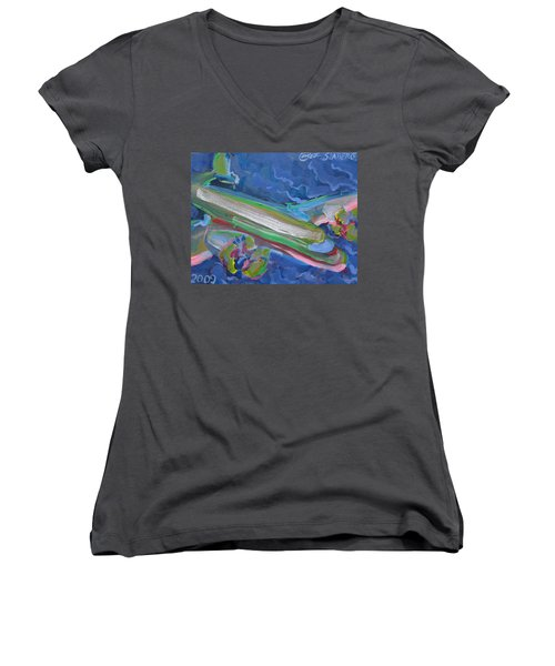 Plane Colorful Women's V-Neck T-Shirt (Junior Cut)