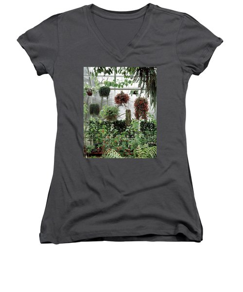 Plants Hanging In A Greenhouse Women's V-Neck