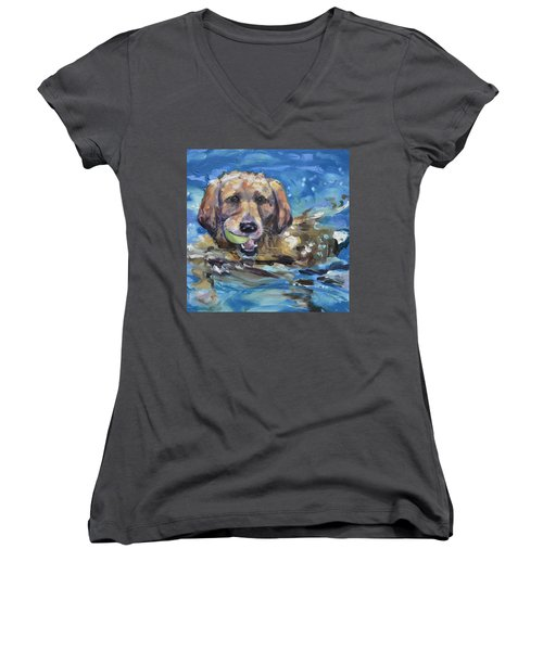 Playful Retriever Women's V-Neck (Athletic Fit)